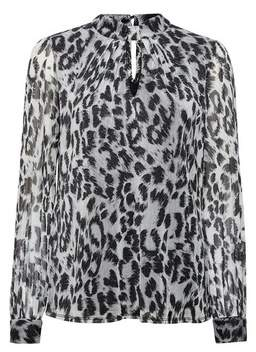 Dorothy Perkins Womens **Billie & Blossom Silver Leopard Print Mesh Blouse, Silver