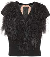 N°21 Ostrich feather-trimmed sweater
