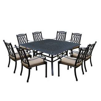 Darby Home Co Otsego 9 Piece Cast Aluminum Dining Set with Cushions Darby Home Co