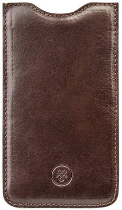 Maxwell Scott Bags Maxwell Scott Sleek Italian Leather Phone Case - Dosolo Brown