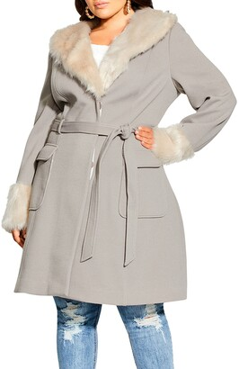 City Chic Make Me Blush Belted Coat with Faux Fur Trim