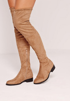 Missguided Nude Faux Suede Flat Over The Knee Boots