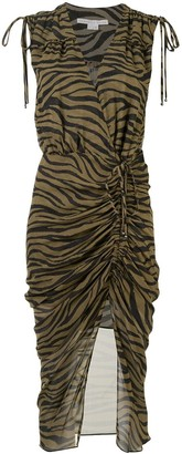 Veronica Beard Animal Print Silk Tie Wrap Dress