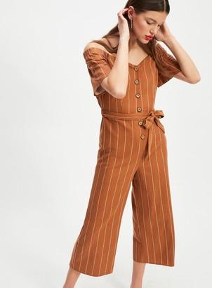 Miss Selfridge Rust Stripe Bardot Button Jumpsuit With Linen