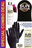 Sun Goddess - Special Combo - 1 Sunless Self Tanning DARK Lotion 8 oz + 1 PAIR Sunless Self Tanning Application Gloves + 1 Sunless Self Tanning Applicator Mitt + 10 Sunless Self Tanning Lotion Samples