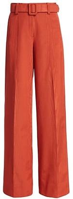 Oscar de la Renta Moire Belted Wide-Leg Pants