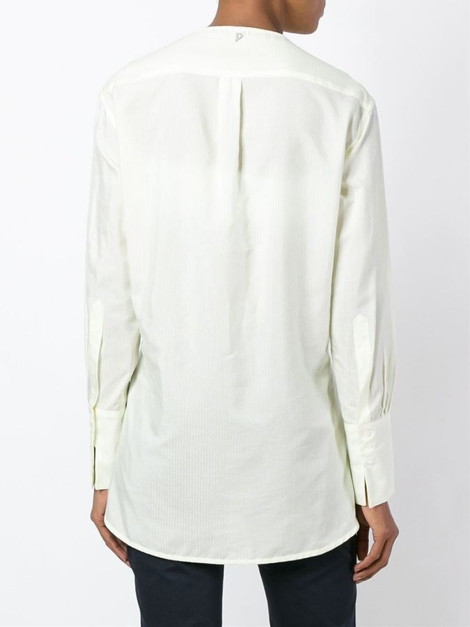 Dondup front ruffle striped blouse