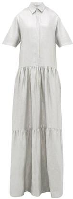 story. White Operato Metallic-coated Linen Maxi Dress - Womens - Silver