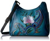 Anuschka Anna by Handpainted Large Multi Pocket Hobo,Denim Paisley Floral