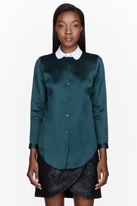 Carven Green Satin Organza Blouse