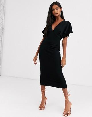 ASOS DESIGN midi batwing dress in ponte in black