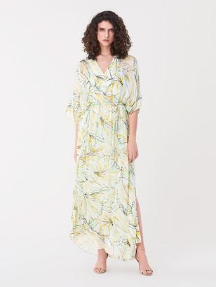 Diane von Furstenberg Hana Silk-Chiffon Belted Kaftan Maxi Dress