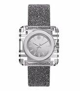 Tory Burch TRB3011 Izzie Silver Accents Clear Case Swarovski Crystal Leather Strap Women's Watch