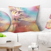 """Floral Lotus on Abstract Background Pillow East Urban Home Size: 16"""" x 16"""", Product Type: Throw Pillow"""