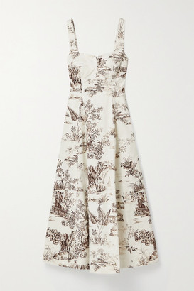 Nicholas Kiki Floral-print Stretch-cotton Twill Midi Dress - Ivory