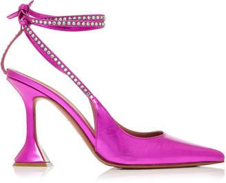 Amina Muaddi Karma Crystal-Embellished Leather Pumps Size: 36.5
