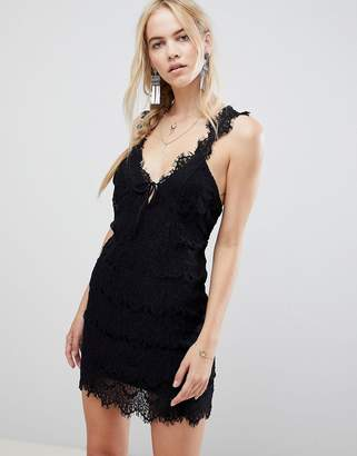 Free People Night Moves Lace Dress-Black