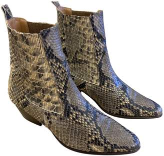 Sandro Beige Water snake Ankle boots