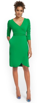 New York & Co. Ruched-Sleeve Wrap Dress