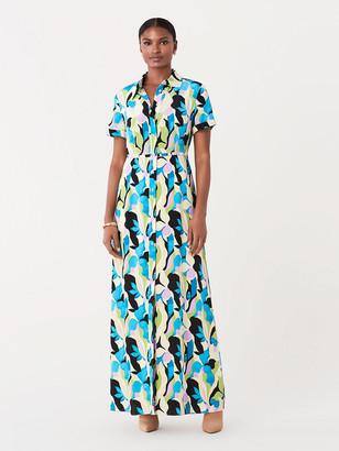 Diane von Furstenberg Georgia Silk Crepe de Chine Maxi Shirt Dress