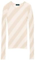 Theory Ribbed Intarsia Diagonal Stripe Pullover