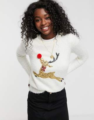 Brave Soul fluffy christmas jumper with sequin reindeer