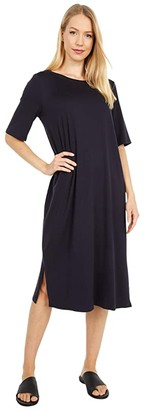 Eileen Fisher Round Neck Short Sleeve Dress (Ink) Women's Dress