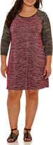Boutique + + 3/4 Sleeve Swing Dresses-Plus
