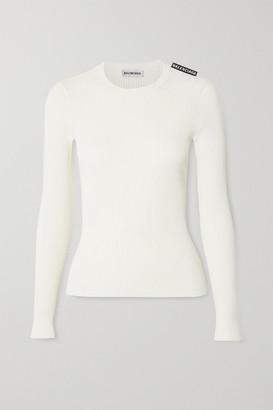 Balenciaga Ribbed-knit Top - Off-white