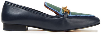 Tory Burch Embellished Jacquard-trimmed Leather Loafers
