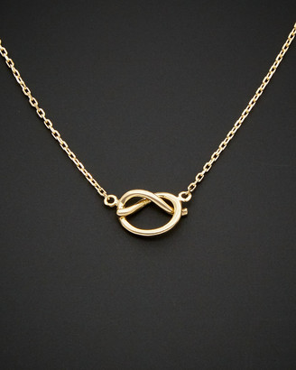 Italian Gold 14K Love Knot Adjustable Length Necklace