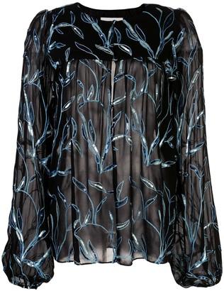 Alexis Valex foliage embroidered blouse