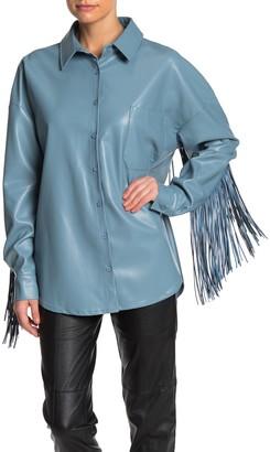 Tov Long Sleeve Faux Leather Fringe Jacket