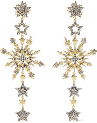 Noir Charmed 14-karat Gold-plated Crystal Earrings
