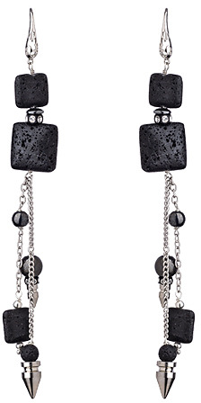 House Of Cach Black Lava Rock Shoulder Duster Earrings