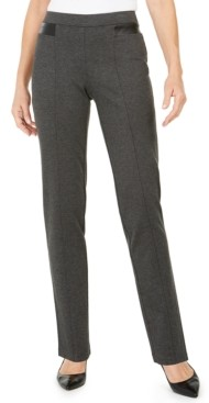 JM Collection Faux-Leather-Trim Ponte-Knit Pants, Created for Macy's