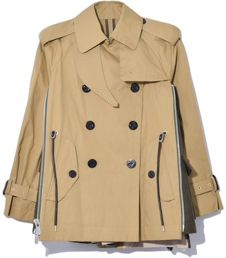 Sacai Cotton Coating Jacket in Beige/Khaki