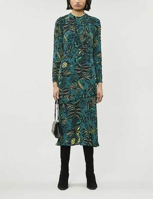Whistles Leaf-print crepe midi dress