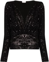 Saint Laurent V-neck sequinned blouse