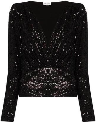 Saint Laurent V-neck sequinned blouse