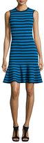 Michael Kors Striped Sleeveless Flounce Dress, Turquoise