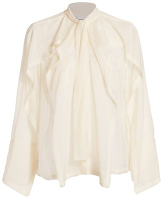 Burberry Alisha Sheer Silk Tieneck Blouse