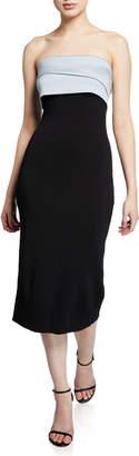 Sachin + Babi Lais Strapless Knit Dress with Draped Ruffle Back