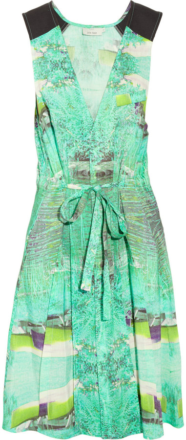 Julie Haus Midge printed linen and silk-blend dress
