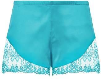 La Perla Exotique Peacock Blue Silk Pyjama Shorts With Leavers Lace Trim