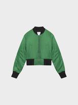 DKNY Satin Twill Bomber Jacket With Rib Trims