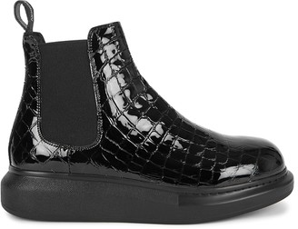 Alexander McQueen Hybrid Crocodile-effect Leather Chelsea Boots