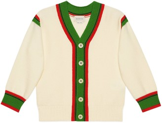 Gucci Children's wool cardigan with Web stripe