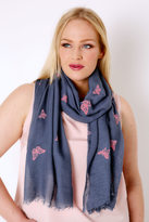 Yours Clothing Navy & Pink Butterfly Print Scarf