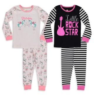 Sol Sleep Baby Girls & Toddler Girls Snug Fit Cotton Long Sleeve Pajamas, 4-Piece PJ Set (12M-4T)